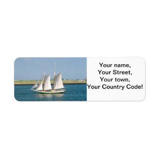 Yacht in Boston Harbor Return Address Label