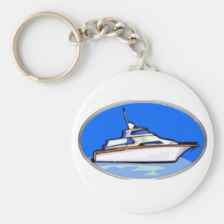 Yacht in Oval Basic Round Button Key Ring