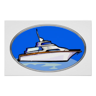 Yacht in Oval Posters