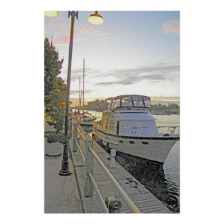 Yacht Moored Poster