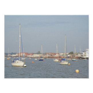 Yacht Moorings On The River Crouch Print