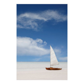 Yacht on the Beach Poster