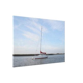 Yacht Scarlet Jester Canvas Print