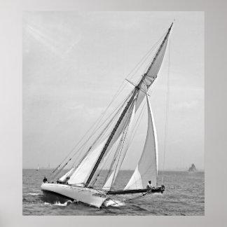 Yacht Shamrock in New York Harbor 1895 BW Poster