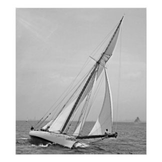 Yacht 'Shamrock' in New York Harbor 1895 BW Poster
