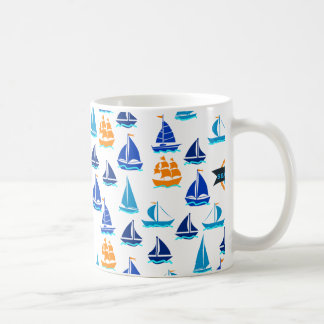 Yacht Ship Boat Nautical Sea Pattern Coffee Mug