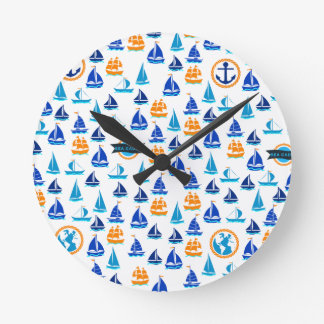 Yacht Ship Boat Nautical Sea Pattern Wall Clock