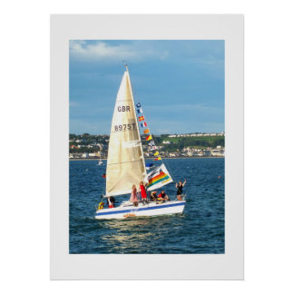 Yacht with flags poster