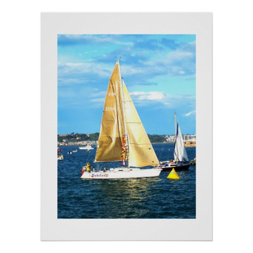 Yacht with golden sails, Jersey Print
