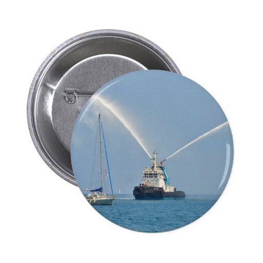 Yacht Zig Zag And Tug Pinback Button