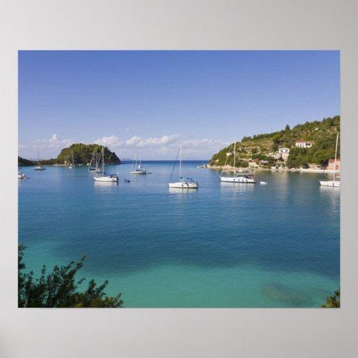 Yachts at anchor, Lakka, Paxos, Greece Posters