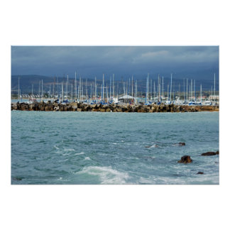 Yachts on the ocean s horizon posters