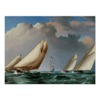 Yachts Rounding the Mark Poster
