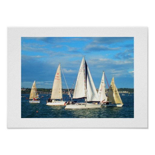 Yachts sailing in Jersey Posters