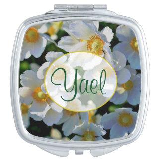 """""""Yael"""" Name White Blossom Compact Mirror"""