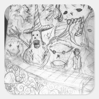 yaie monster manga anime square sticker