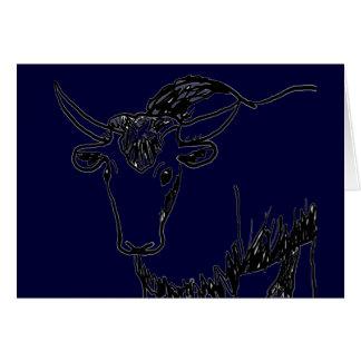 Yak outline in black , cartoon ish bison buffalo card