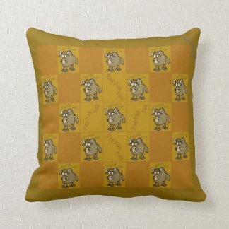 Yak, yak, yak. Cartoon yak on a pillow. Cushion