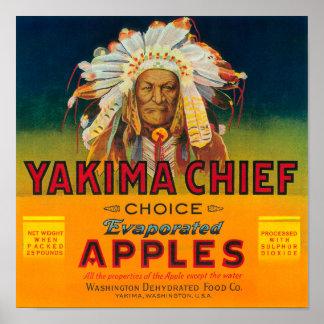 Yakima Chief Apple Label - Yakima, WA Poster
