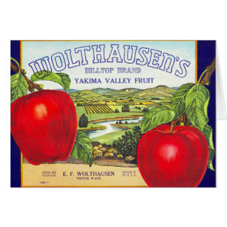 Yakima Valley Apples - Vintage Fruit Crate Label Greeting Card