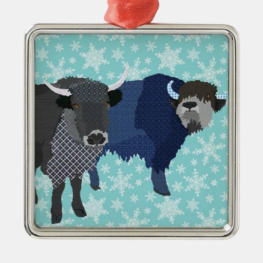 Yaks Blue Christmas Ornament