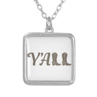 Yall Cowgirl Boots Silver Plated Necklace