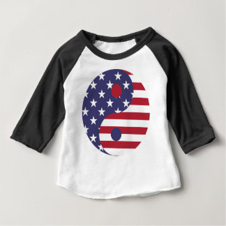 Yang Yin America Flag Abstract Art Asian Balance Baby T-Shirt