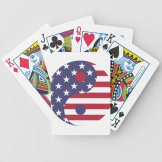 Yang Yin America Flag Abstract Art Asian Balance Bicycle Playing Cards