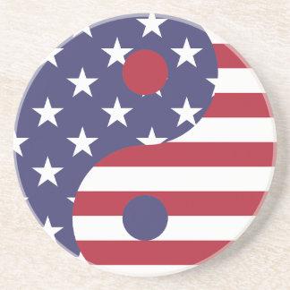 Yang Yin America Flag Abstract Art Asian Balance Coaster