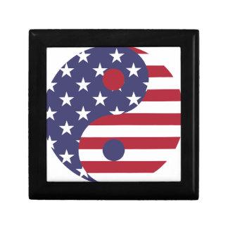 Yang Yin America Flag Abstract Art Asian Balance Gift Box
