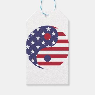 Yang Yin America Flag Abstract Art Asian Balance Gift Tags
