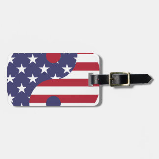 Yang Yin America Flag Abstract Art Asian Balance Luggage Tag