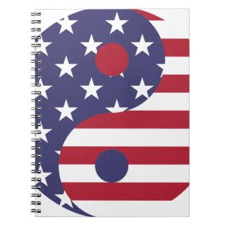 Yang Yin America Flag Abstract Art Asian Balance Notebook