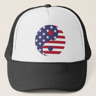Yang Yin America Flag Abstract Art Asian Balance Trucker Hat