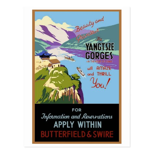 Yangtsze Yangtze River Gorges Vintage Travel Art Postcard