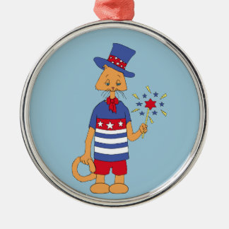 Yankee Doodle Dandy! Silver-Colored Round Decoration
