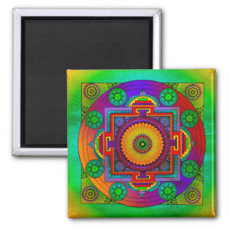 YANTRA - the great wheel - green violet Square Magnet