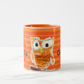 YAP   Custom Designer Owl   Youth Art Project Two-Tone Coffee Mug