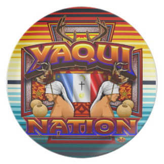 Yaqui Nation Flag Deer Dancer plate design