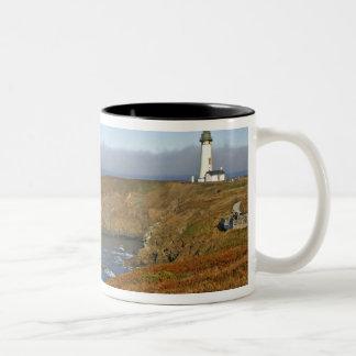 Yaquina Head Lighthouse at Newport Oregon Two-Tone Mug
