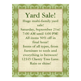 Yard Sale (Can be changed) Shades of Green 21.5 Cm X 28 Cm Flyer