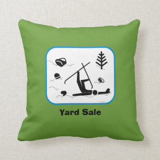 Yard Sale - Funny Skiing Wipe Out Design with Text Cushion