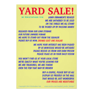 Yard Sale Poem Poster