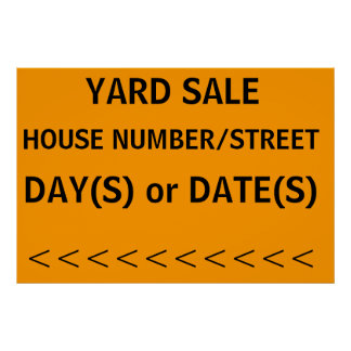 YARD SALE SIGN with left arrow Poster