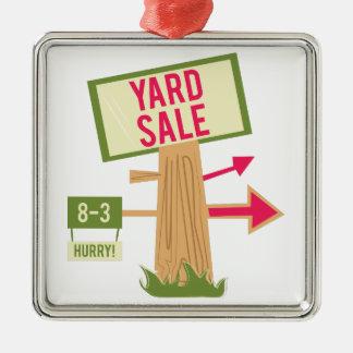 Yard Sale Silver-Colored Square Decoration