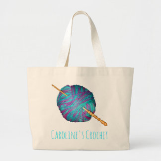 Yarn and crochet hook, with your name large tote bag