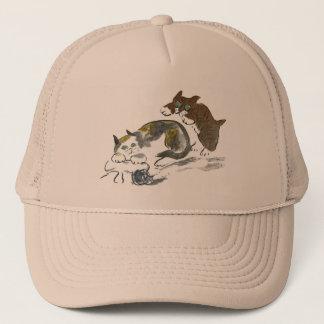Yarn Battle with Kitten & Cat Trucker Hat