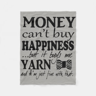 Yarn is Happiness Crafts Quote Fleece Blanket