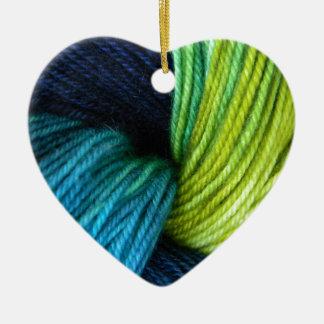 Yarn print, knitting, crochet ceramic heart decoration