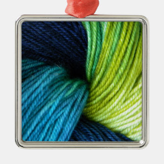 Yarn print, knitting, crochet Silver-Colored square decoration